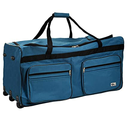 Travel Duffel Bag 160Liter Blue Wheeled Luggage Castors Gym Sport Camping  Large Lightweight Telescopic Handle 8e2fb551d0f81