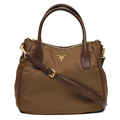 a38363fcf78e ... discount code for prada tessuto sacca 2 manici brown nylon hobo shoulder  bag handbag purse br4992