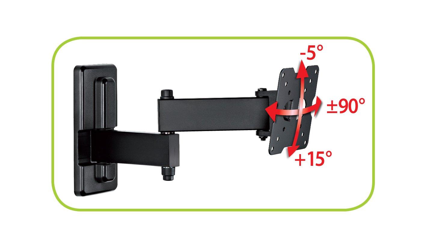 |50x50|75x75|100x100| Made in Italy 100/% mm inclinabile VESA Ideale per Tv a Schermo Piatto fino a max 25/'/' Supporto TV CME EDR 100 con doppio braccio Nero vert. max 15/°,orizz. max 90/°
