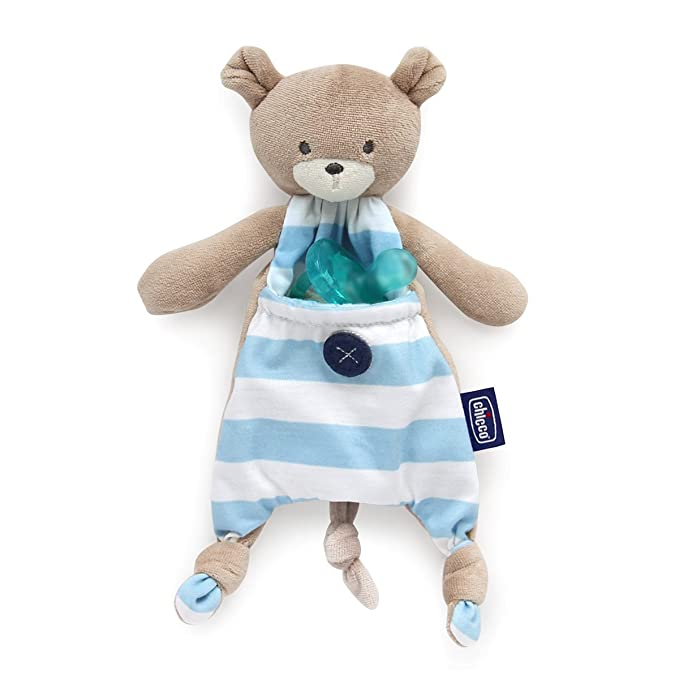 Chicco Pocket Friend - Guarda chupetes de peluche con bolsillo, azul