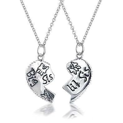 Bling Jewelry Split Heart Friendship Pendant Sterling Silver Necklace Set 16 Inches Ko4jkhdvu