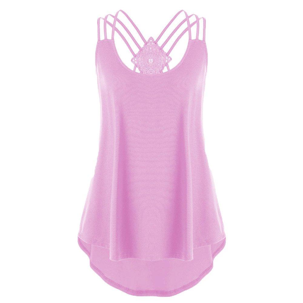 ODGear Women's Summer Plus Size Sleeveless Bandage Tank Tops Casual Wrinkled Blouse Cami New Black