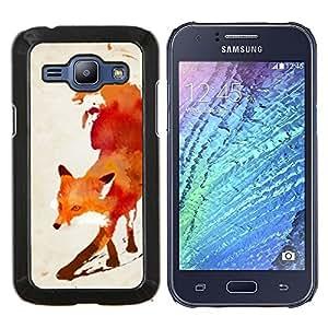 LECELL--Funda protectora / Cubierta / Piel For Samsung Galaxy J1 J100 -- Rojo Blanco Acuarela Pintura Arte --