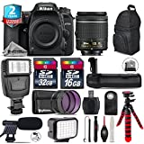 Holiday Saving Bundle for D7500 DSLR Camera + AF-P 18-55mm + Battery Grip + Shotgun Microphone + LED Kit + 2yr Extended Warranty + 32GB Class 10 Memory + Backpack + 16GB - International Version