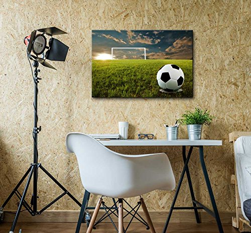 Close Up of Soccer Ball on an Open Field Wall Decor ation