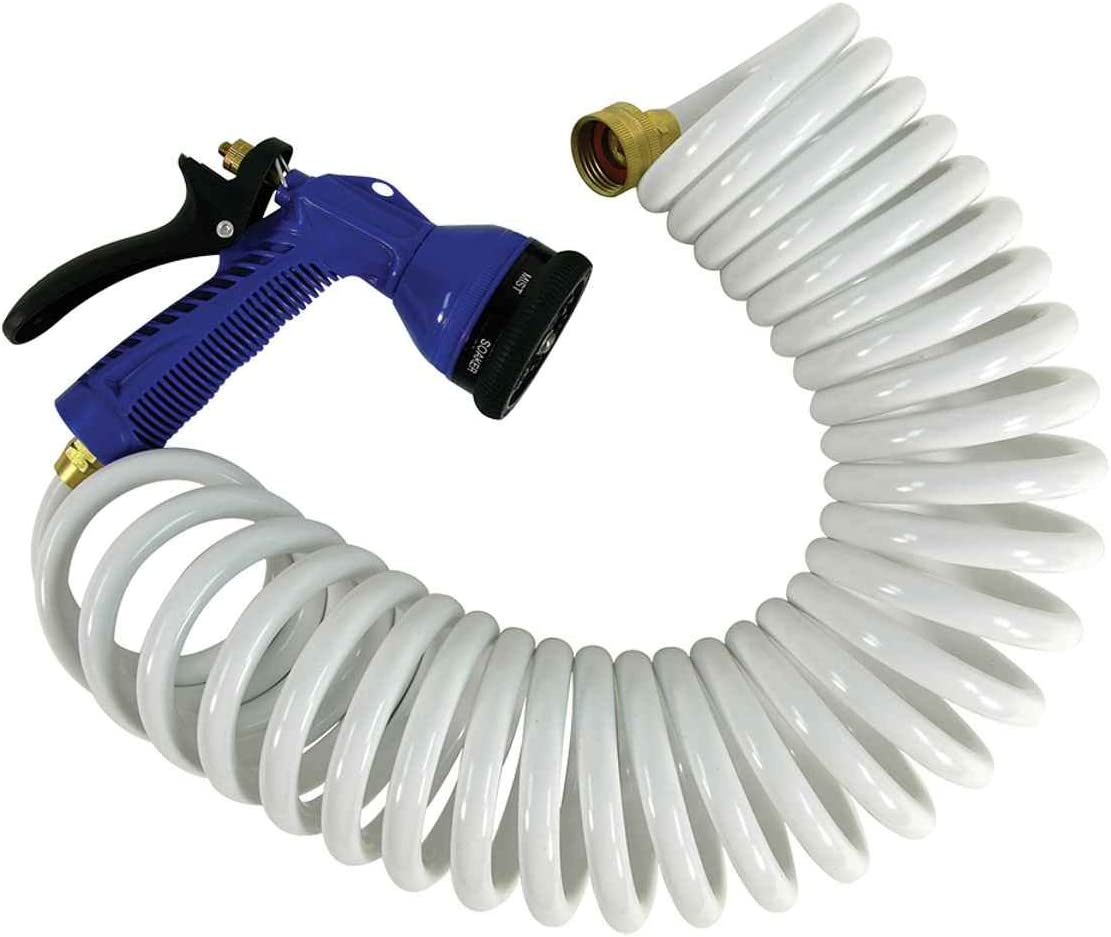 Whitecap 25  Blue Coiled Hose w//Adjustable Nozzle