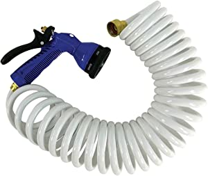 Whitecap 15 Coiled Hose with Adjustable Nozzle