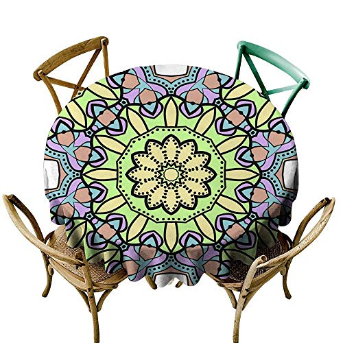 SKDSArts Table Cloth for Outdoor Seamless Art Deco Floral Pattern with Modern Style Ornament on Color Background for Wallpaper Cover Book Fabric scrapbooks 10 D60,Waterproof Table Cover for Kitchen -