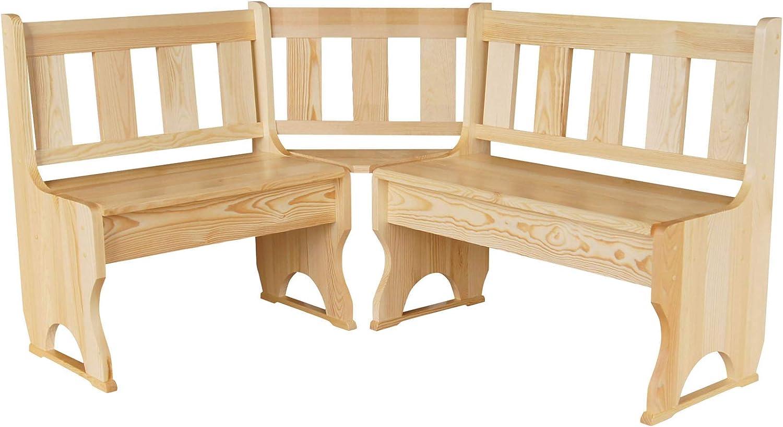 Panchina ad angolo in legno massiccio di pino laccato koma