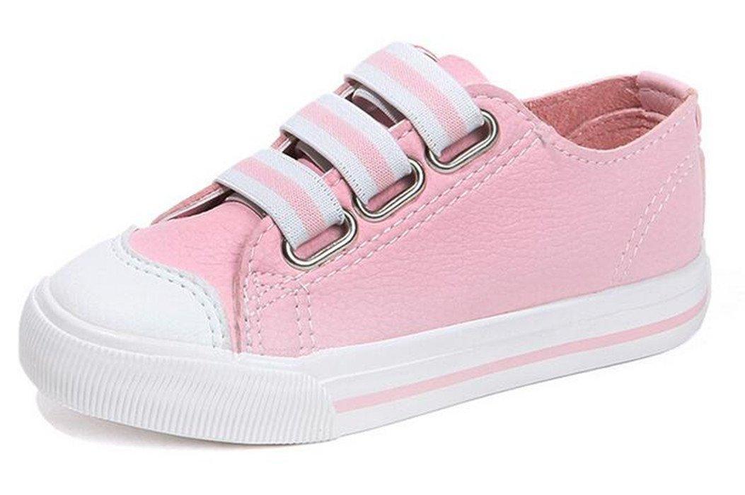 Bumud Kids Girls Boys Elastic Strap School Boat Shoe Fashion Sneaker (Toddler/Little Kid) (11 M US Little Kid, Pink)