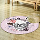 Nalahomeqq Skulls Decorations Collection Skull and Blooms Catholic Popular Ceremony Celebrating Artistic Vintage Design Polyester Fabric Room Circle carpet Salmon White-Diameter 60cm(24'')