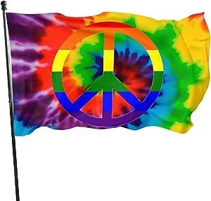 BAIFUMEN Peace Sign Tie-Dye Rainbow Flag 3x5 Ft Outdoor Garden Decor Porch Lightweight Flag - Uv Fade Resistant