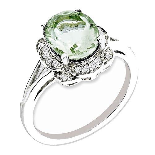 Goldia Sterling Silver Green Natural Quartz Ring