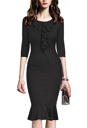REPHYLLIS Women's Vintage Bowknot Belt Office Wear to Work Pencil Dress  (Small, Black-