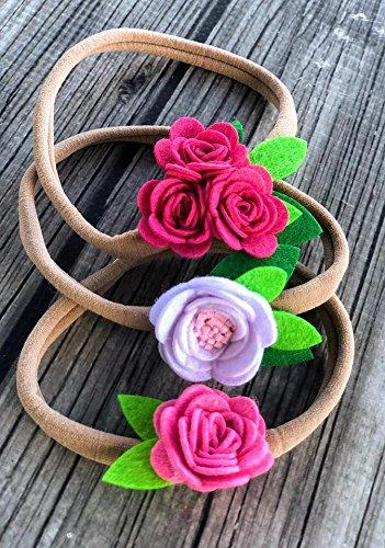 Baby Girl Headbands - nylon headbands - multi-color headbands - colorful headbands - solid color headbands - newborn baby headbands - felt flower headbands Baby Felt
