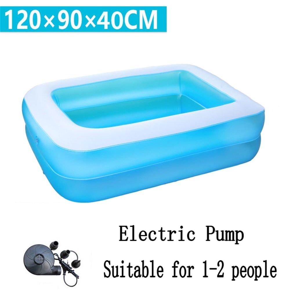 Pequeña Piscina Inflable de la Piscina de la Bañera/de la Piscina Piscina para Niños/bebé/Familia con el pie/Bomba Eléctrica Conveniente para 1-2 Personas (120  90  40cm) (Edición : Electric Pump)