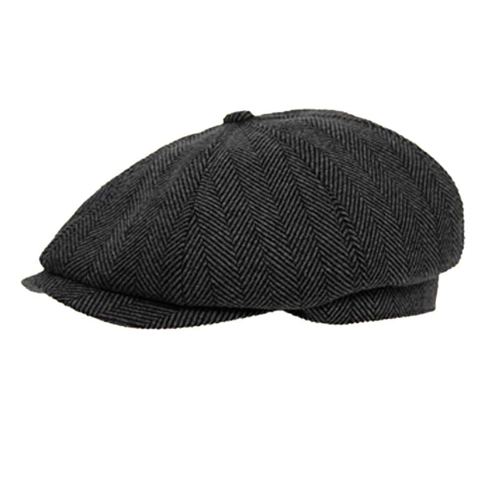 DARK GREY 8 PANEL HERRINGBONE TWEED CAP Unbranded