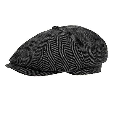 DARK GREY 8 PANEL HERRINGBONE TWEED CAP  Amazon.co.uk  Clothing 5e4a7e1535d