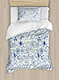 Ambesonne Children Duvet Cover Set Twin Size, Science Chemistry Geometry Math Nerd Geek and Genius Themed Design Artwork, Decorative 2 Piece Bedding Set with 1 Pillow Sham, Blue and Ivory