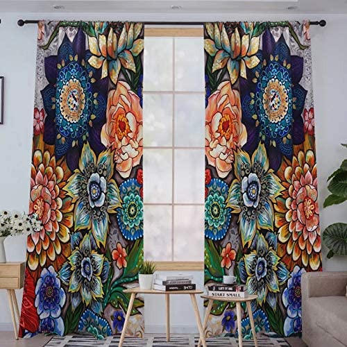 YoKII Boho Floral Blackout Curtains for Bedroom 84-Inch Length 2 Panels, Room Darkening Thermal Insulated Window Curtain Panels Draperies Vintage Flower Patterned Pairs 52W x 84L, Colorful