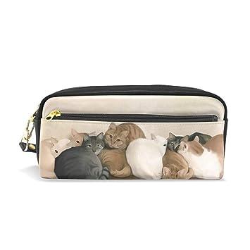 Mnsruu - Estuche de piel sintética para lápices y bolígrafos, diseño de gatos: Amazon.es: Oficina y papelería