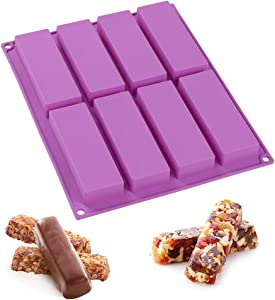 Webake Chocolate Granola Cereal Energy Bar Mold, Rectangle Silicone Mold 4.5 Inch Long For Baking, Butter, Soap, 8 Cavities