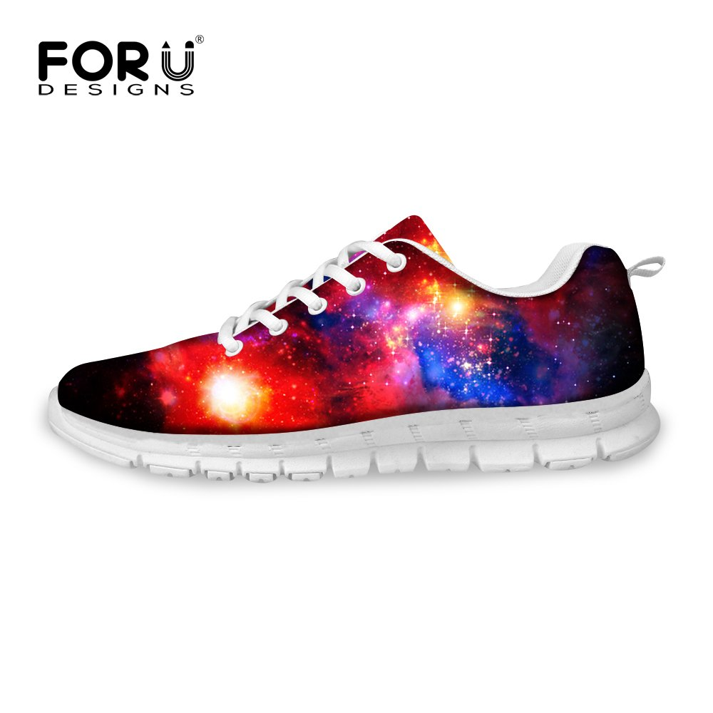 FOR U DESIGNS Stylish Glitter Galaxy Print Men's Style Breathable Convenient Trail Running Shoes Sneaker Size 9