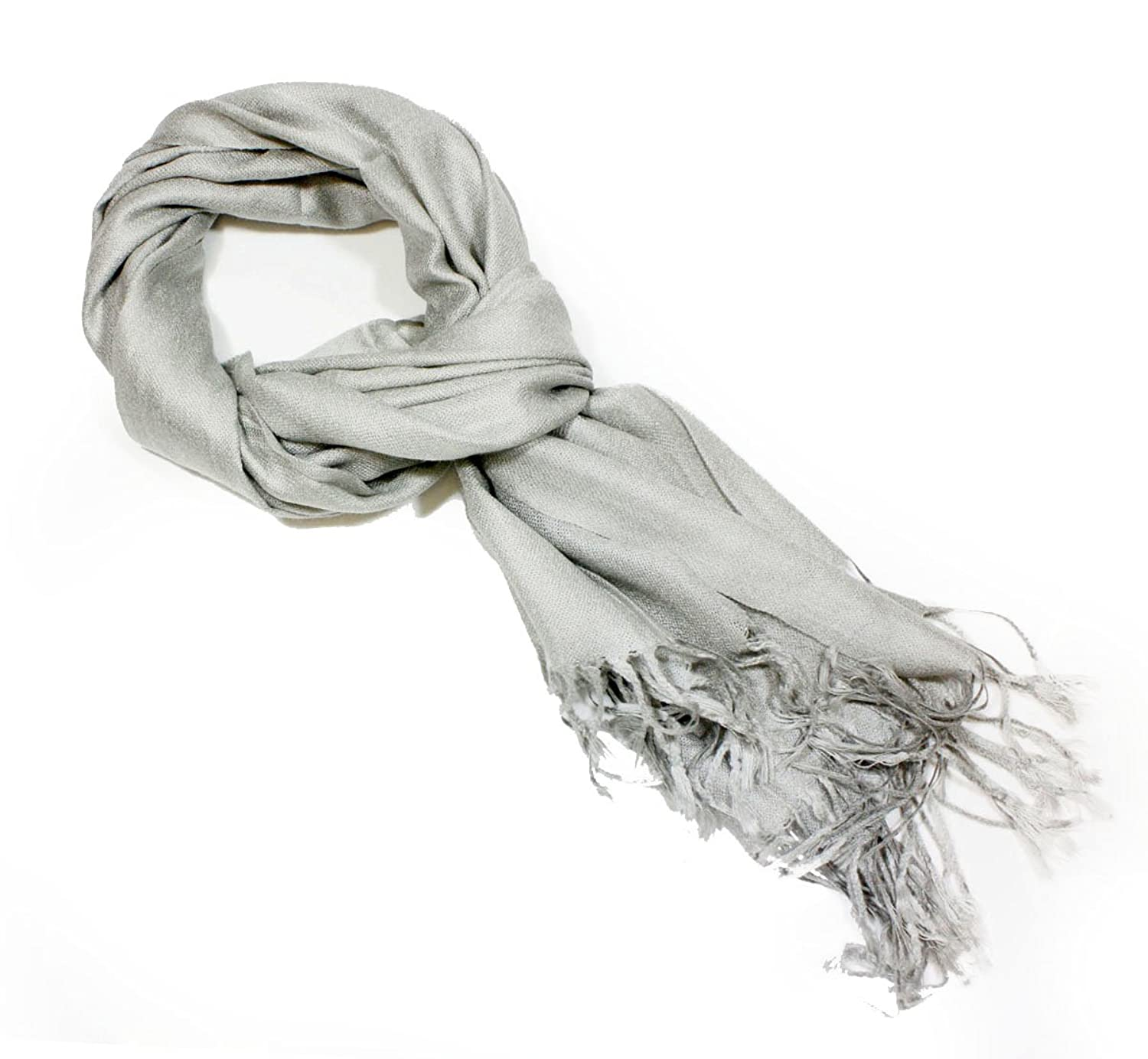 Fashion Dimensions Solid Light Grey Fashion Pashmina Scarf