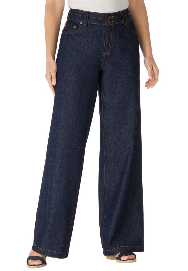 Women's Plus Size Wide Leg Cotton Jean Indigo,24 W