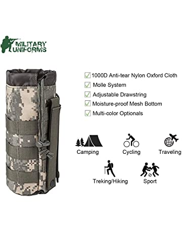 Sports Water Bottles Pouch Bag Tactical Molle Water Bottle Pouch Military Drawstring Water Bottle Holder Mesh