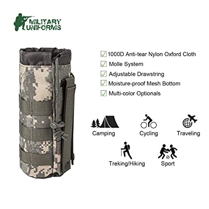 3876c7072c8 MILITARY UNIFORMS Outdoor Gear Mesh Flask Bag Drawstring Water Bottle Pouch  Molle Water Bottle Attachment ACU