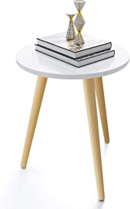 Haton Side Table, Round White Modern Home Decor Coffee Tea End Table for Living Room, Bedroom and Balcony, Easy Assembly