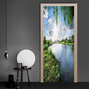 Door Stickers Decor Nature, Calm River in Summer Full Door Cover Refrigerator Stickers Very Easy to Apply 36 x 79 Inch