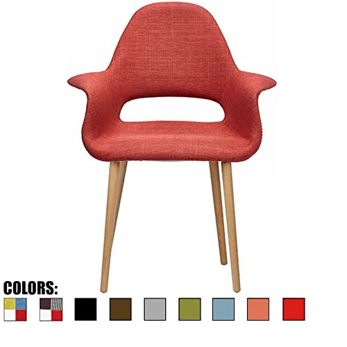 2xhome CH Orange Organic Upholstered Mid Century Modern Dining Arm Chair with Natural Wood Legs