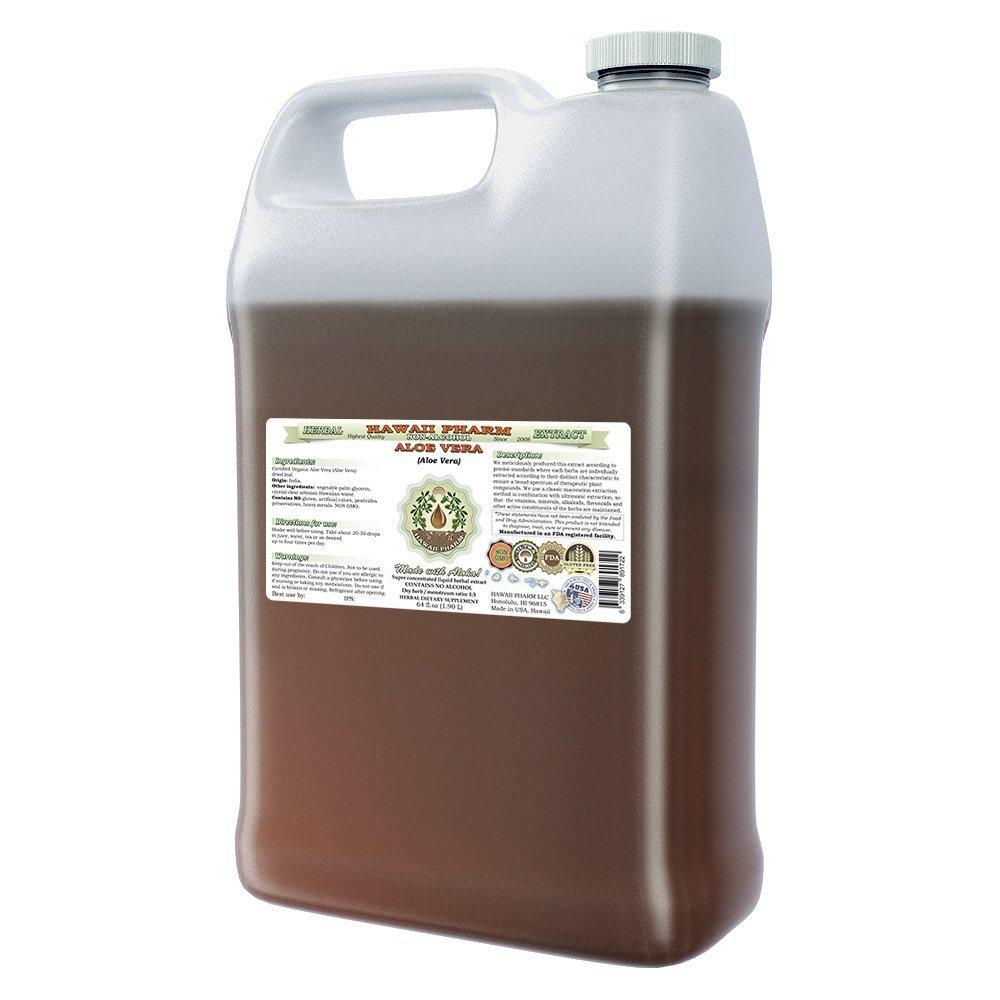Aloe Vera Alcohol-FREE Liquid Extract, Organic Aloe Vera (Aloe Vera ) Dried Leaf Glycerite Hawaii Pharm Natural Herbal Supplement 64 oz