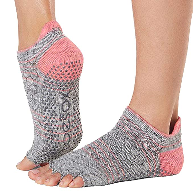 Toesox Womens Low Rise Half Grip Non-Slip for Ballet, Yoga ...