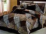 Micro Fur Safari Comforter set Zebra Giraffe Leopard Tiger Multi Animal Print Bed in a Bag Brown Beige Black White Bedding
