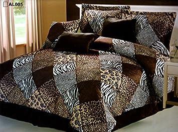 7 Piece King Size Safari Comforter Set - Leopard, Tiger Zebra, Etc - Multi  Animal Print Bed in a Bag Brown Black Beige Micro Fur Bedding