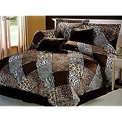 7 Piece (California) CAL KING Safari Comforter set - Zebra, Giraffe, Leopard, Tiger Etc - Multi Animal Print Bed in a Bag Brown Beige Black White Micro Fur Bedding