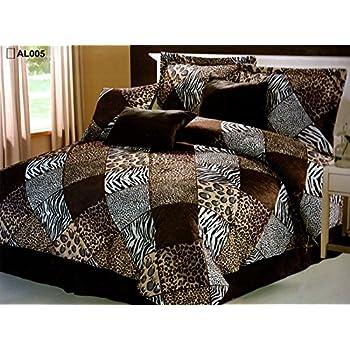 7 Piece FULL Safari Comforter set - Zebra, Giraffe, Leopard, Tiger Etc - Multi Animal Print Bed in a Bag Brown Beige Black White Micro Fur Bedding