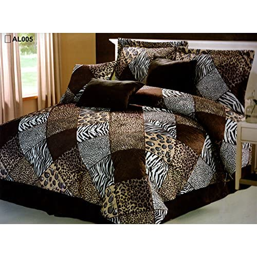 7 Piece KING Safari Comforter Set   Zebra, Giraffe, Leopard, Tiger Etc