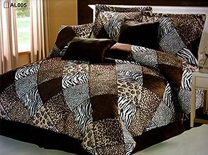 7 Piece KING Safari Comforter set - Zebra, Giraffe, Leopard, Tiger Etc -  Multi Animal Print Bed in a Bag Brown Beige Black White Micro Fur Bedding