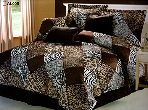 7 Piece KING Safari Comforter set - Zebra, Giraffe, Leopard, Tiger Etc - Multi Animal Print Bed in a Bag Brown Beige Black White Micro Fur Bedding ()