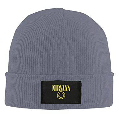 7849cf3eb35 Image Unavailable. Image not available for. Color  POP-Front Mens Womens  Knit Beanie Hat Nirvana Warm Winter Hat Skull Cap Unisex