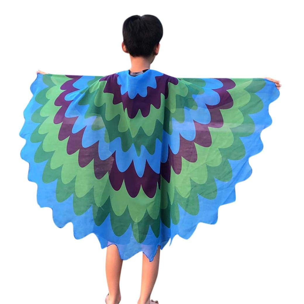 Halloween Toddler Kids Cartoon Print Wings Shawl Scarves Poncho Costume Outfits