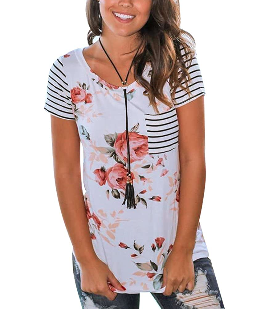 Women's Floral Print Striped Patchwork T-Shirt Short Sleeve Tops with Pocket Imixshop