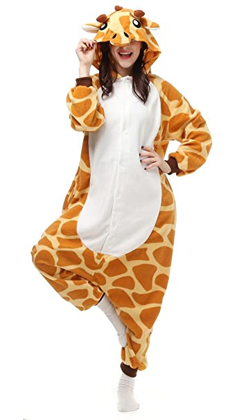 Auspicious beginning Unisex-adulto de Cosplay del traje de la jirafa animal pijamas Homewear desgaste