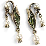 Vintage Lily of the Valley Flower Bridal Wedding Anniversary Pearl Earrings