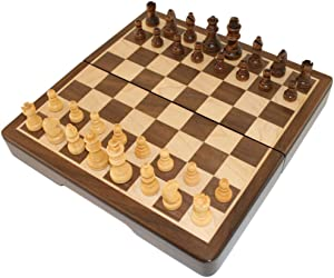 Frances Chess Folding Magnetic Inlaid Wood Board Game, Travel Size 8 x 8 Inch