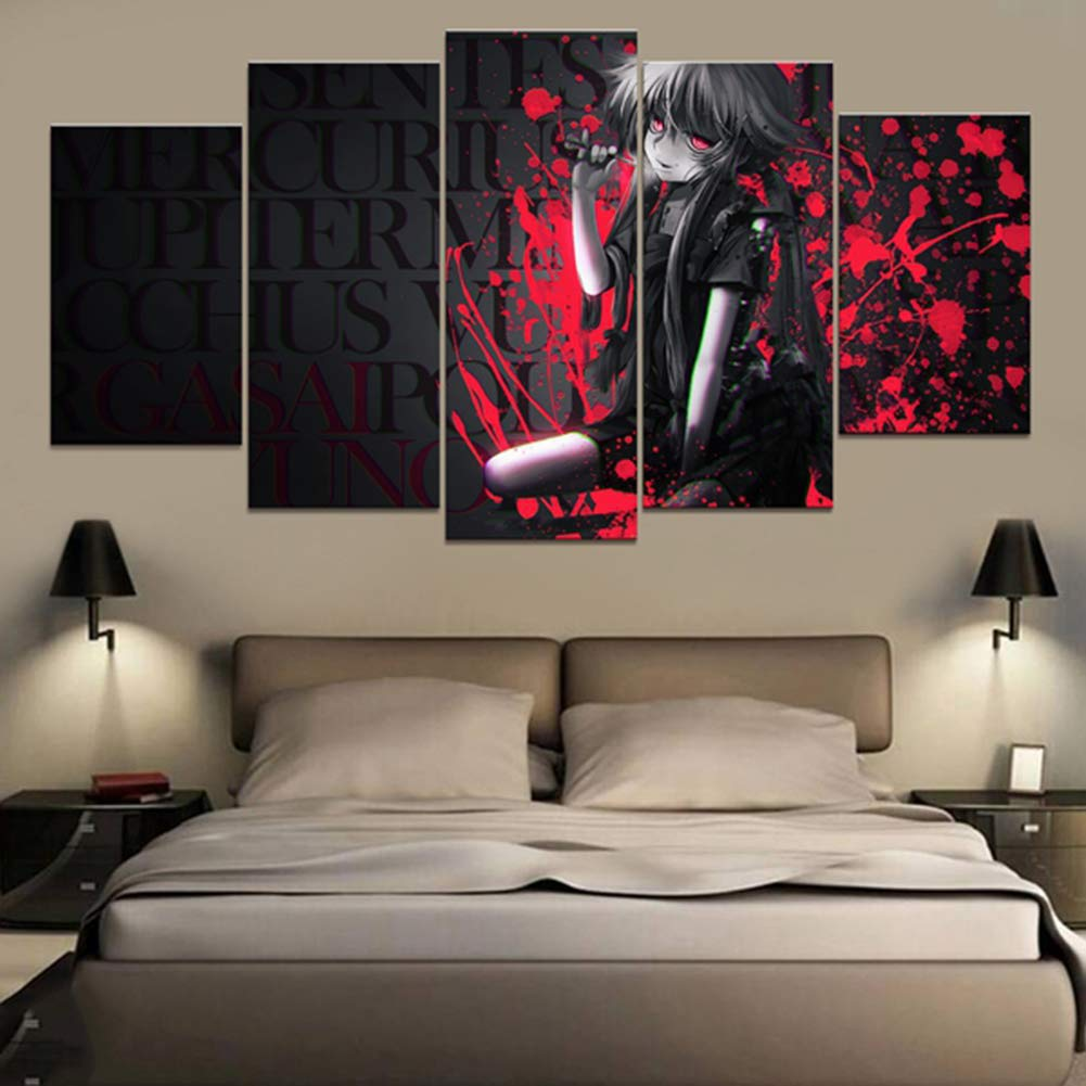 SFXYJ Home Decor Modular Canvas Picture 5 Piece Mirai Nikki Gasai Yuno Animation Painting Poster Wall for Home Canvas Wholesale,A,40×60×2+40×80x2+40×100×1